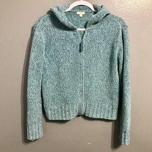 J. Jill Blue Zip Up Chenille Sweater XS